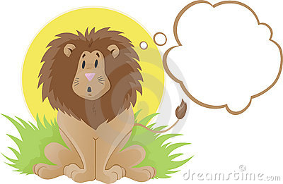 Cute lion thinker