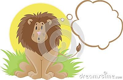 Cute lion thinker