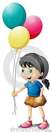 A cute litte girl holding balloons