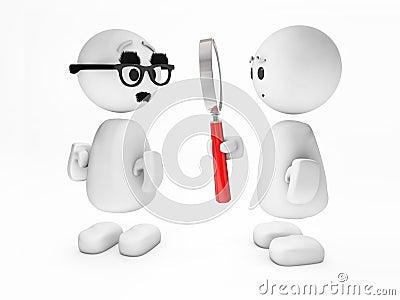 Cute little 3D guy inspects a suspicicious person