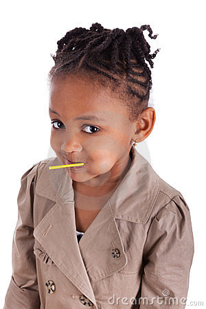 Cute little african american girl with a lollipop