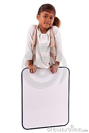 Cute little african girl holding a whiteboard