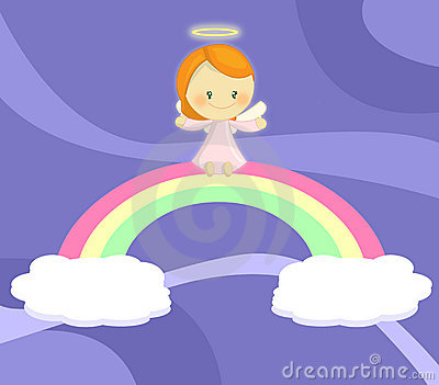 Cute little angel girl seated on rainbow