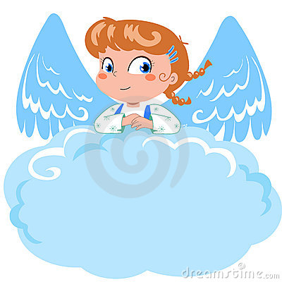 Cute little angel and cloud