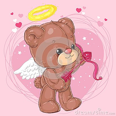 Cute little angel teddy bear with arrow of cupid on heart background. Greeting card with St. Valentine`s Day. Vector Illustration