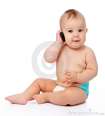 Free Cute Little Baby Is Talking On Cell Phone Stock Images - 19018534