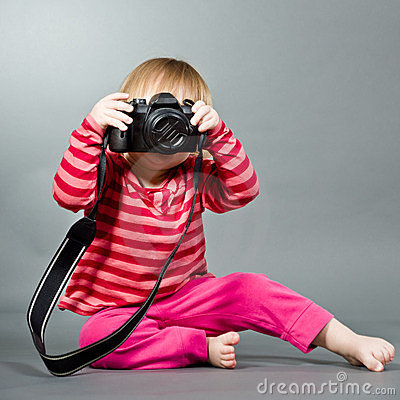 Free Cute Little Baby With Digital Photo Camera Stock Image - 23775621