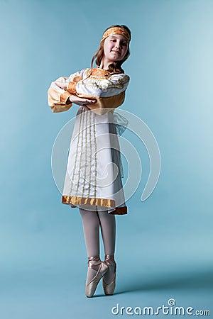 Free Cute Little Ballerina Posing In Folk Dress Royalty Free Stock Image - 42496436