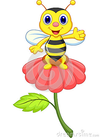 Cute Little Bee Cartoon On Red Flower Stock Images - Image: 33992464: www.dreamstime.com/stock-images-cute-little-bee-cartoon-red-flower...