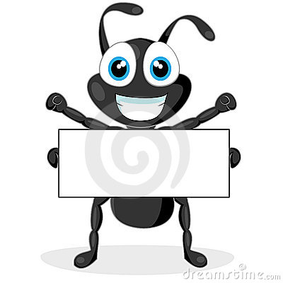 Cute little black ant with blank sign