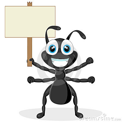 Cute little black ant with wood sign
