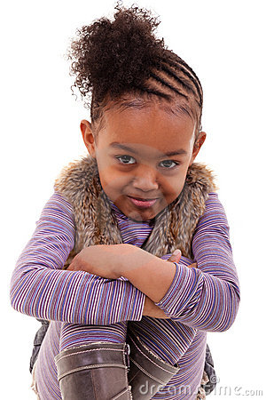Cute little black girl angry