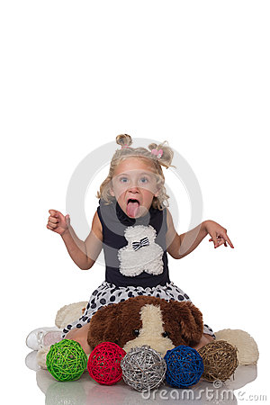 Free Cute Little Blonde Girl Sitting On A Big Soft Dog Stock Image - 46968401