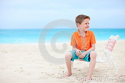 Cute little boy at beach