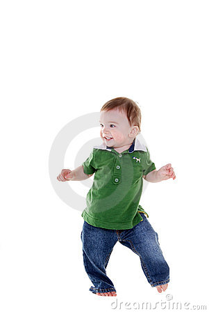 Cute little boy dancing.