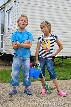 Cute little boy and girl, going to beach