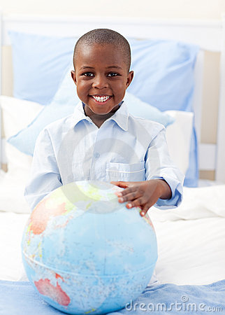 Free Cute Little Boy Holding A Terrestrial Globe Royalty Free Stock Images - 12684279