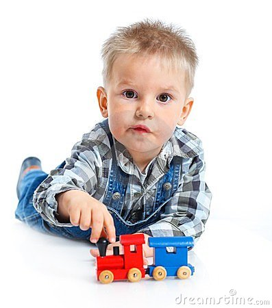 Free Cute Little Boy Playing Trains Stock Photos - 24051213