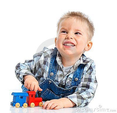Free Cute Little Boy Playing Trains Stock Images - 24065724