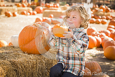 Cute Little Boy Sitting and Holding His Pumpkin at Pumpkin Patch