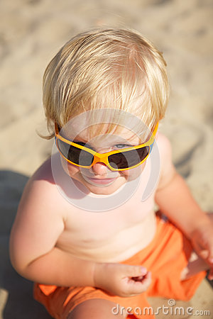Cute little boy in solar glasses