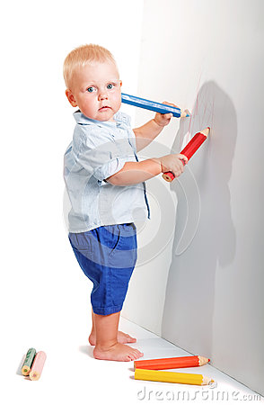 Free Cute Little Boy Standing Holding Two Pencil To Draw Isolated. Royalty Free Stock Photo - 80209385