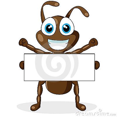 Free Cute Little Brown Ant With Blank Sign Stock Images - 17264174