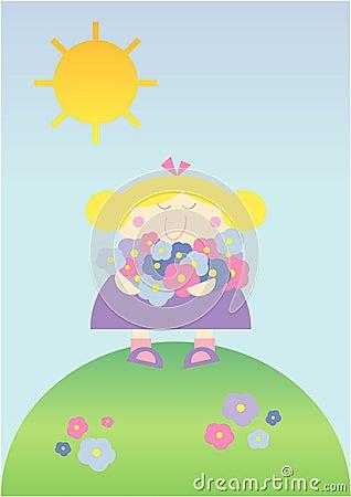 Free Cute Little Cartoon Girl In Spring Stock Photo - 14058170