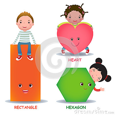 Free Cute Little Cartoon Kids With Basic Shapes Heart Hexagon Rectangle Stock Photography - 55630332