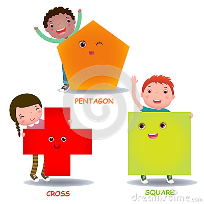 Free Cute Little Cartoon Kids With Basic Shapes Square Cross Pentagon Royalty Free Stock Image - 55630506