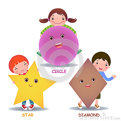 Free Cute Little Cartoon Kids With Basic Shapes Star Circle Diamond Stock Image - 55630331
