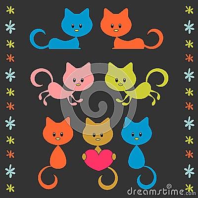 Cute little cartoon kittens