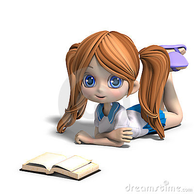 Free Cute Little Cartoon School Girl Reads A Book. 3D Royalty Free Stock Photography - 14576287