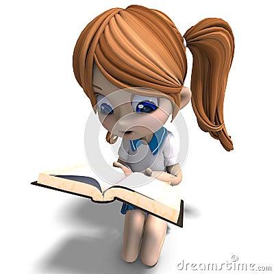 Cute little cartoon school girl reads a book. 3D