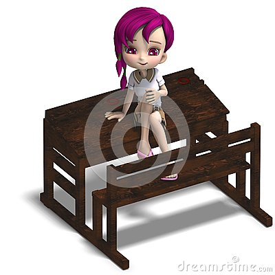 Cute little cartoon school girl sitting on a