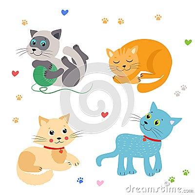 Cute Little Cats Vector Illustration. Cat Mascot Vector. Cats Meowing. Vector Illustration