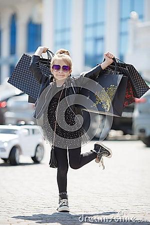 Free Cute Little Caucasian Girl Child Having Shopping Fun. Royalty Free Stock Photo - 144991015