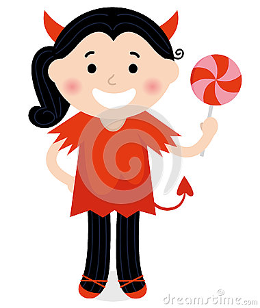 Free Cute Little Devil Girl In Red Costume Stock Images - 27405114