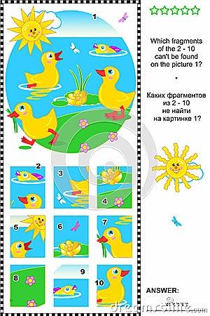 Cute little ducklings visual logic puzzle