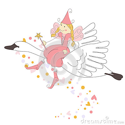 Cute little fairy flying on a swan