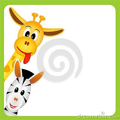 Free Cute Little Giraffe And Zebra On White Background Stock Image - 21449741