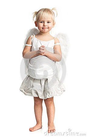 Cute little girl with angel wings over white
