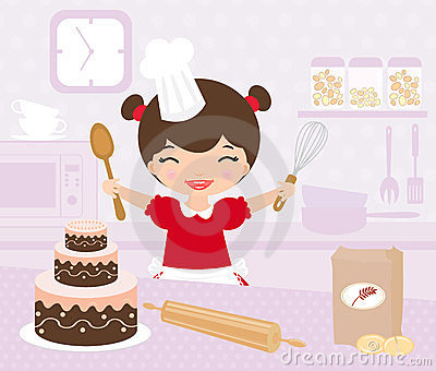 Cute little girl baking