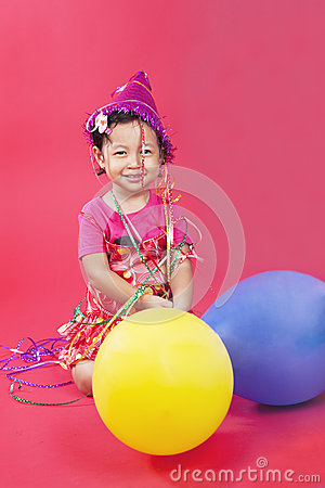 Cute little girl with balloons