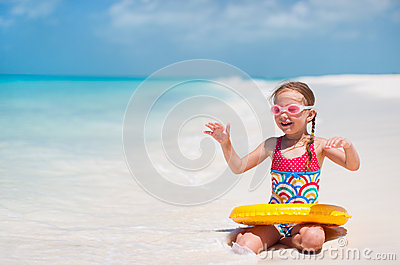 Cute little girl at beach