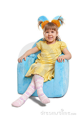 Cute little girl in blue chair