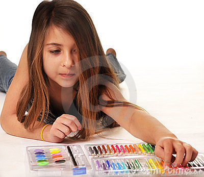 Cute Little Girl Coloring Royalty Free Stock Image - Image: 7656676