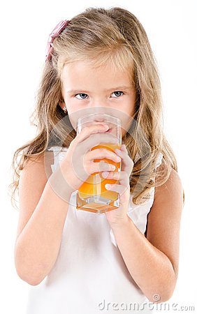 Free Cute Little Girl Drinking Orange Juice Isolated Royalty Free Stock Photography - 43448827