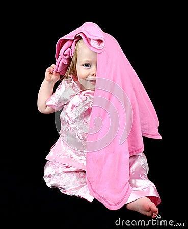 Cute little girl hiding