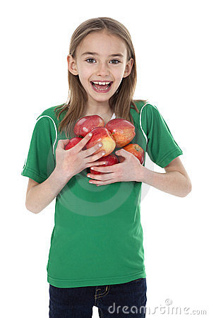 Free Cute Little Girl Holding Apples Royalty Free Stock Photo - 23830165